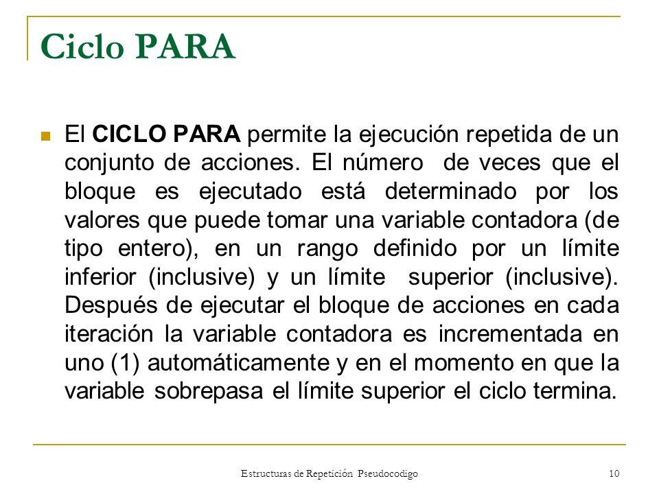 Estructuras de Repetición Pseudocodigo 10 Ciclo PARA El CICLO PARA permite la ejecución repetida de un conjunto de acciones. El número de veces que el