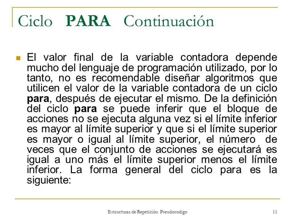 Estructuras de Repetición Pseudocodigo 11 Ciclo PARA Continuación El valor final de la variable contadora depende mucho del lenguaje de programación u