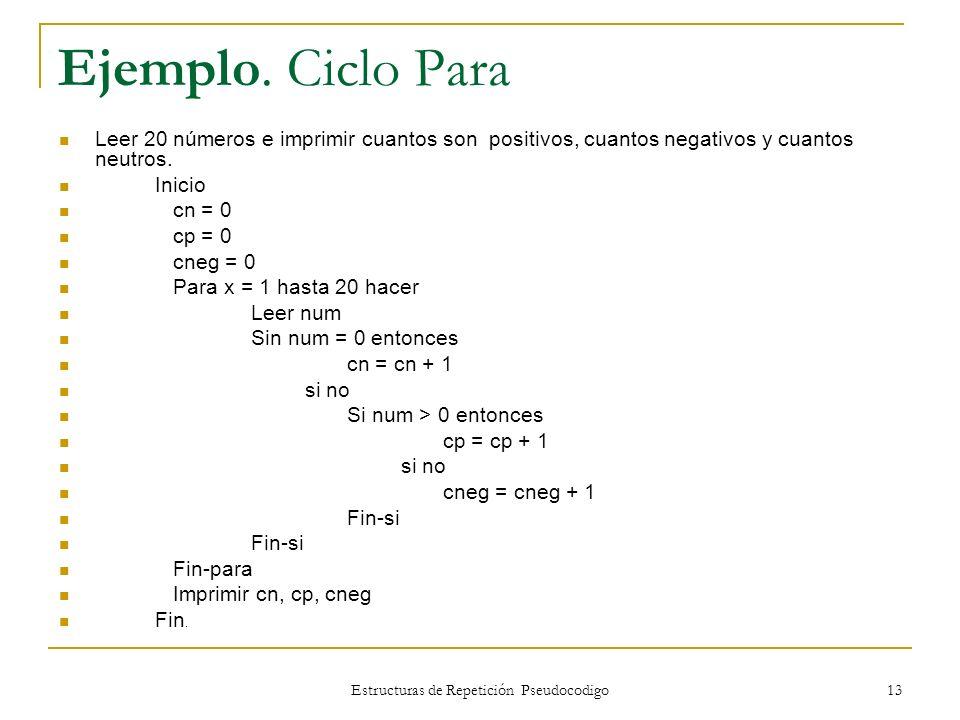 Estructuras de Repetición Pseudocodigo 13 Ejemplo. Ciclo Para Leer 20 números e imprimir cuantos son positivos, cuantos negativos y cuantos neutros. I