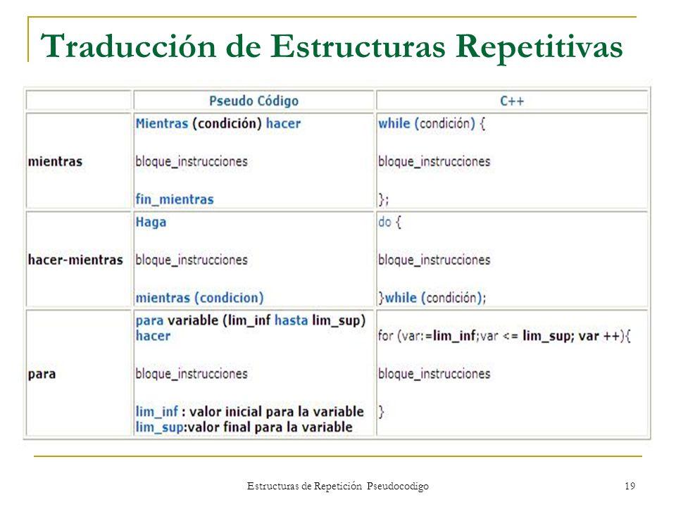Estructuras de Repetición Pseudocodigo 19 Traducción de Estructuras Repetitivas