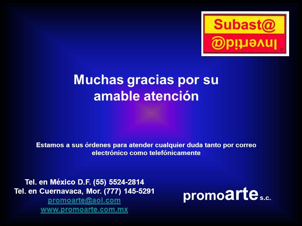 Muchas gracias por su amable atención Tel. en México D.F.