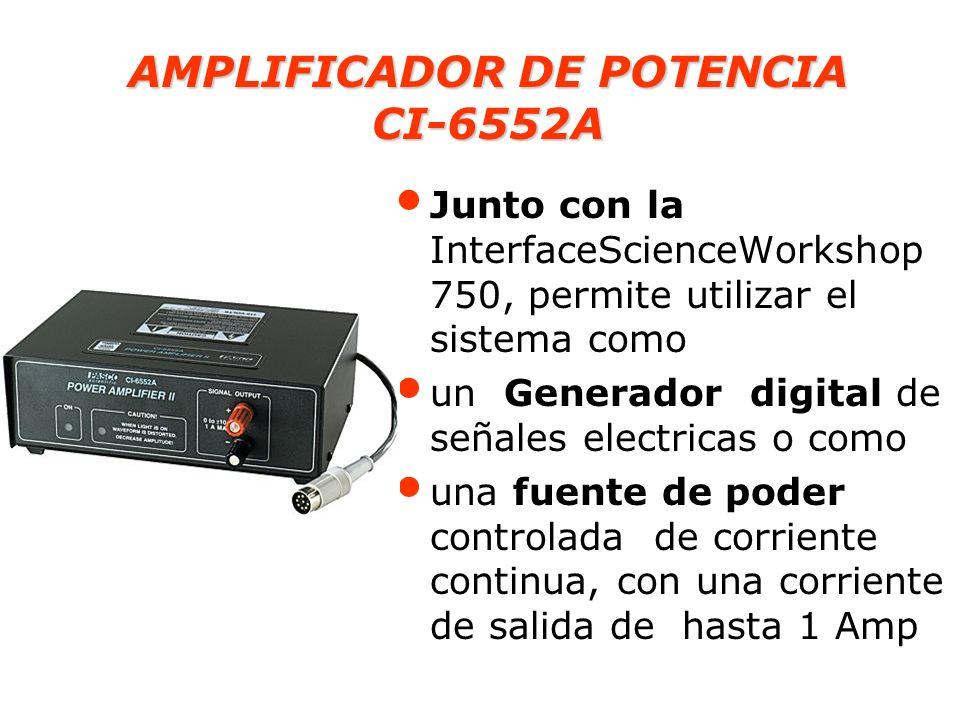 AMPLIFICADOR DE POTENCIA CI-6552A Junto con la InterfaceScienceWorkshop 750, permite utilizar el sistema como un Generador digital de señales electric
