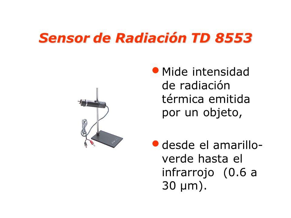 Sensor de Radiación TD 8553 Mide intensidad de radiación térmica emitida por un objeto, desde el amarillo- verde hasta el infrarrojo (0.6 a 30 µm).