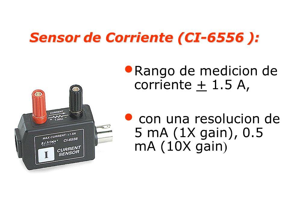 Sensor de Corriente (CI-6556 ): Rango de medicion de corriente + 1.5 A, con una resolucion de 5 mA (1X gain), 0.5 mA (10X gain )