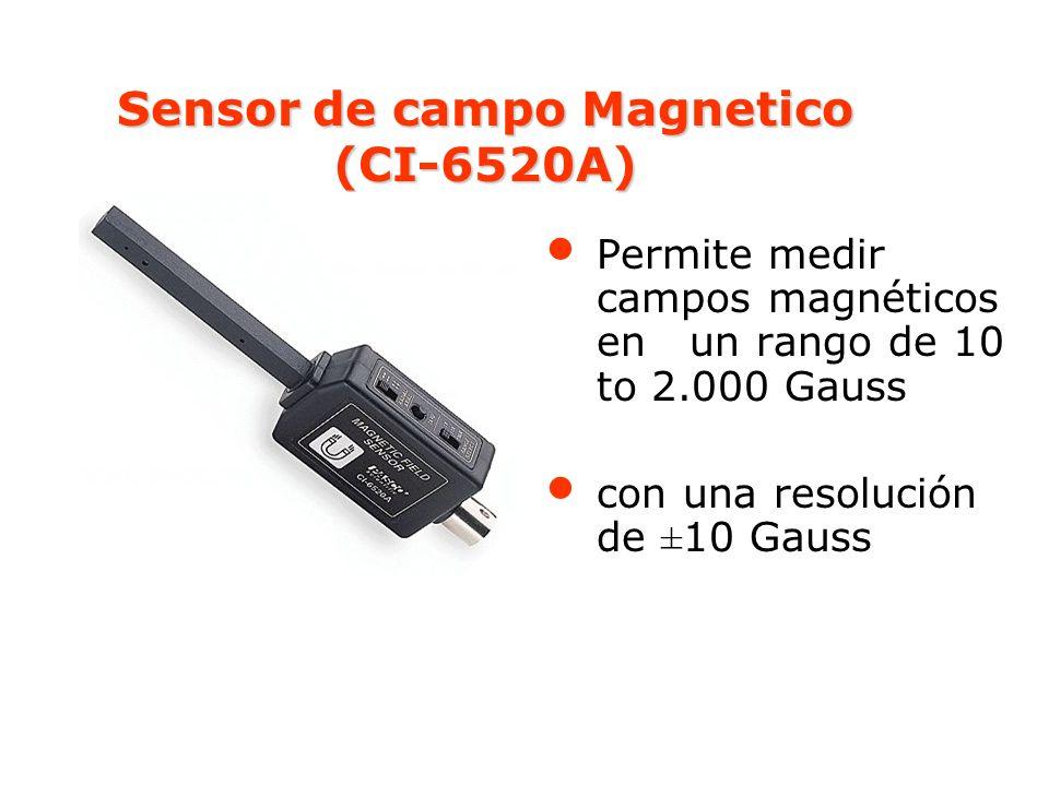 Sensor de campo Magnetico (CI-6520A) Permite medir campos magnéticos en un rango de 10 to 2.000 Gauss con una resolución de ±10 Gauss