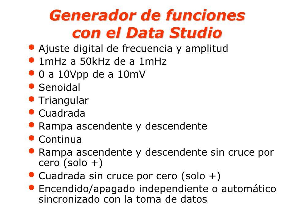 Generador de funciones con el Data Studio Ajuste digital de frecuencia y amplitud 1mHz a 50kHz de a 1mHz 0 a 10Vpp de a 10mV Senoidal Triangular Cuadr
