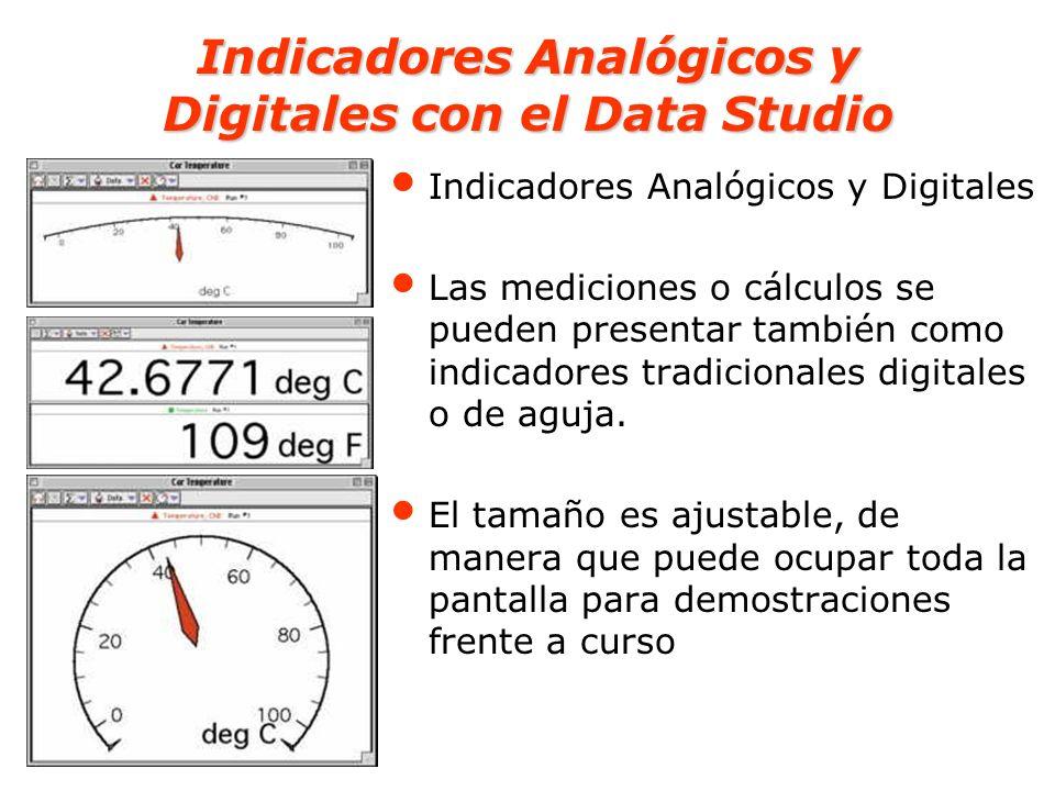Indicadores Analógicos y Digitales con el Data Studio Indicadores Analógicos y Digitales Las mediciones o cálculos se pueden presentar también como in
