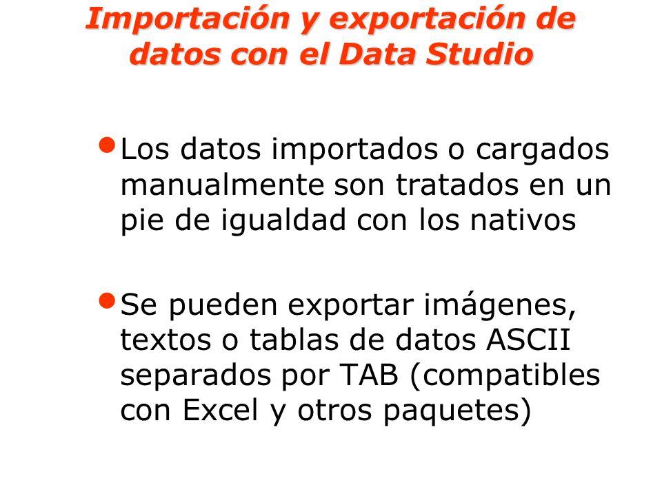 Importación y exportación de datos con el Data Studio Los datos importados o cargados manualmente son tratados en un pie de igualdad con los nativos S
