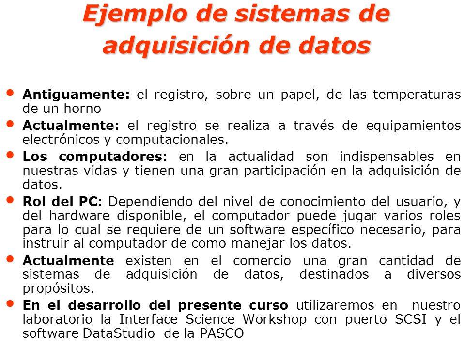 Interface Science Workshop con puerto SCSI y el software DataStudio de la PASCO es un sistema que permite la recopilación, análisis y presentación de datos en ambiente Windows que puede crear y realizar experimentos de Ciencias generales, Biología, Física y Química de cualquier nivel de estudios.