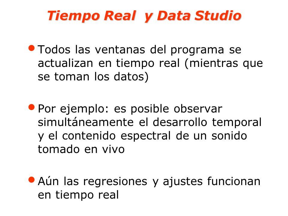 Tiempo Real y Data Studio Todos las ventanas del programa se actualizan en tiempo real (mientras que se toman los datos) Por ejemplo: es posible obser