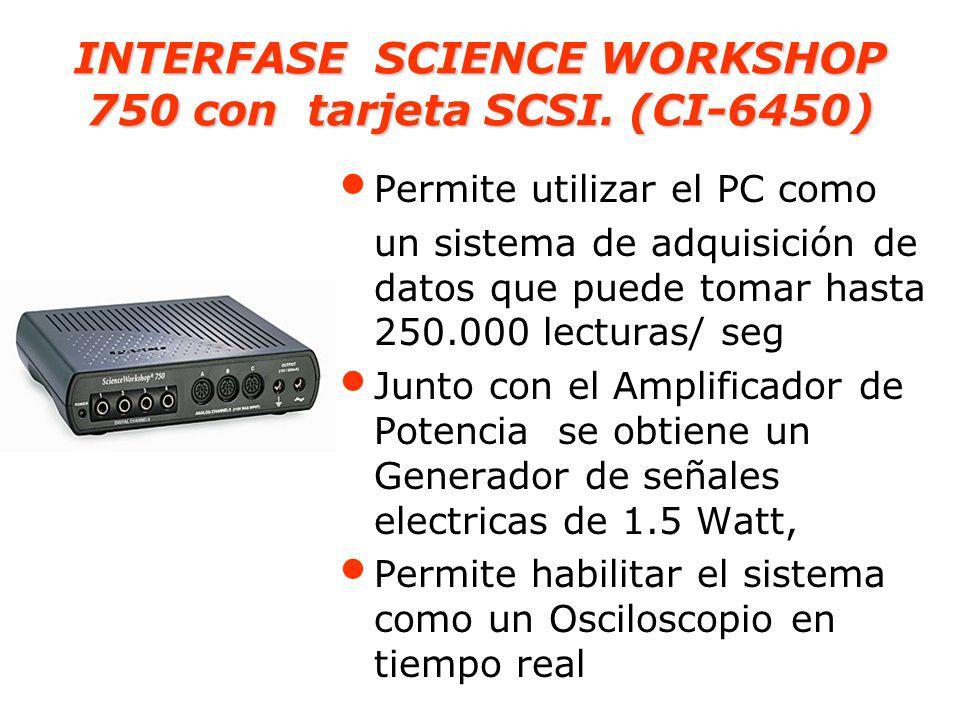 Caracteristicas de la Interface ScienceWorkshop 750 : Tasa de muestreo : hasta 250.000 Hz por canal analogico Conneccion rápida con tarjeta SCSI.