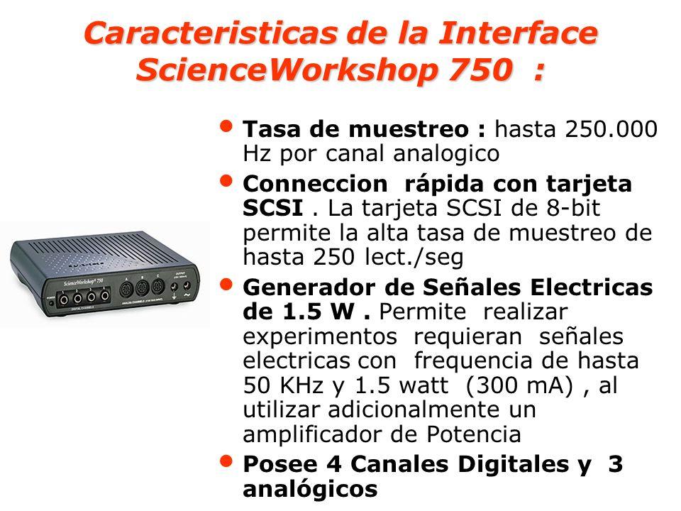 Caracteristicas de los canales analogicos de la Interface ScienceWorkshop 750 : Permite hasta 250.000 lecturas/Segundo (en cada canal) Permite disponer de un Osciloscopio de 20 KHz (hasta 40 cuadros por segundo) Los 3 canales análogos de entrada son ndependientes, hasta ±10 V