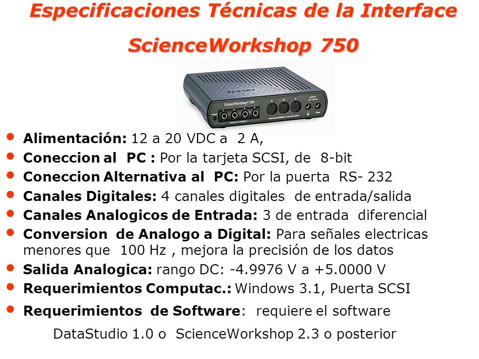 Especificaciones Técnicas de la Interface ScienceWorkshop 750 Alimentación: 12 a 20 VDC a 2 A, Coneccion al PC : Por la tarjeta SCSI, de 8-bit Conecci