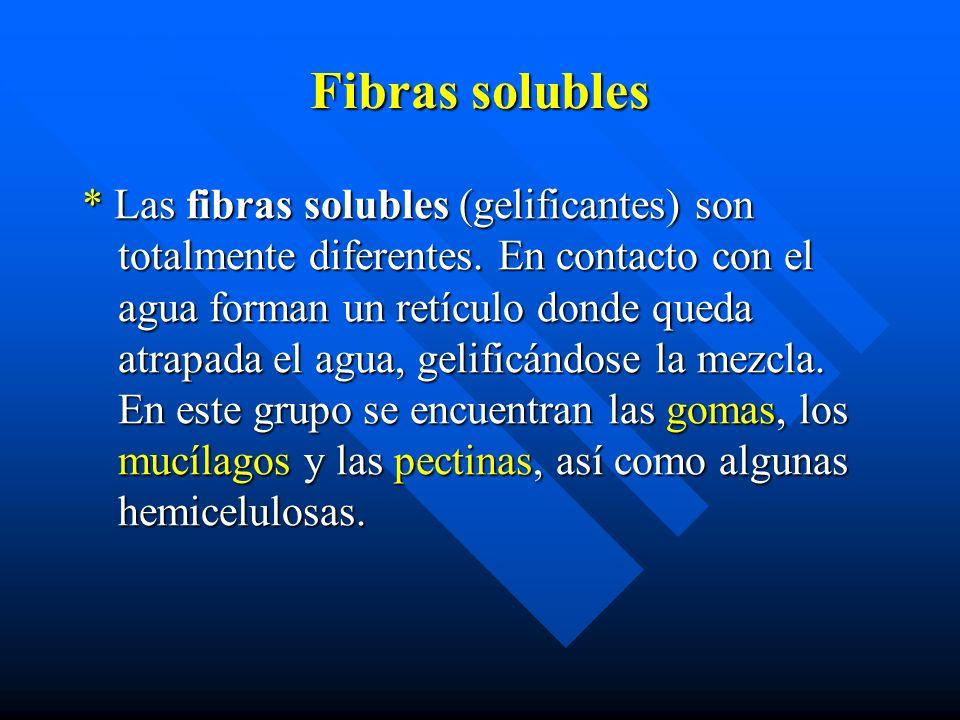 Fibras solubles * Las fibras solubles (gelificantes) son totalmente diferentes.