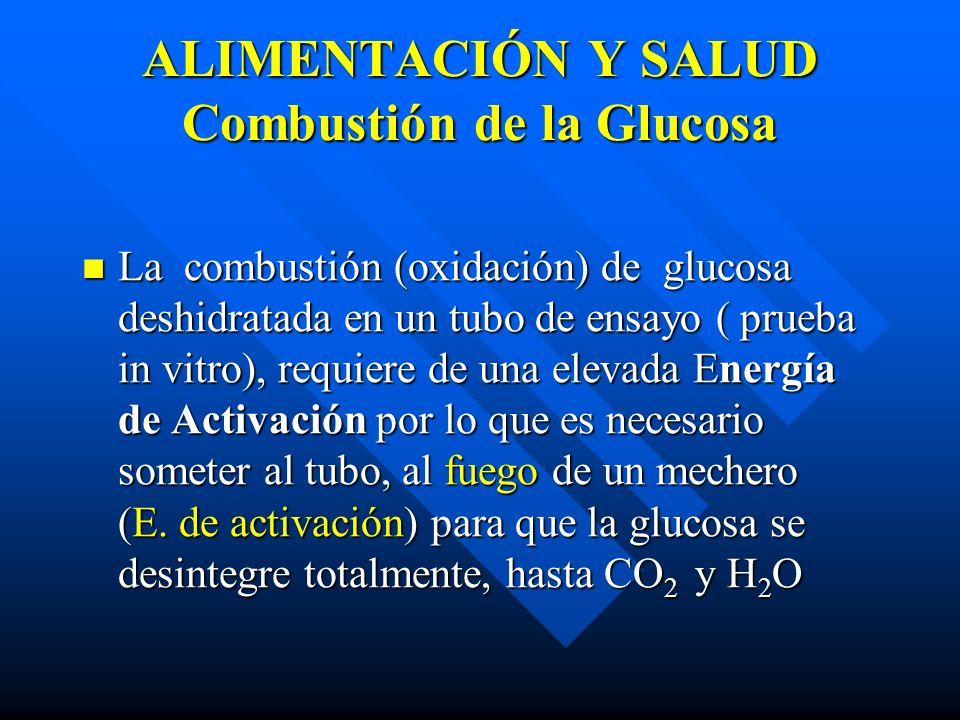 ALIMENTACIÓN Y SALUD Combustión de la Glucosa La combustión (oxidación) de glucosa deshidratada en un tubo de ensayo ( prueba in vitro), requiere de una elevada Energía de Activación por lo que es necesario someter al tubo, al fuego de un mechero (E.