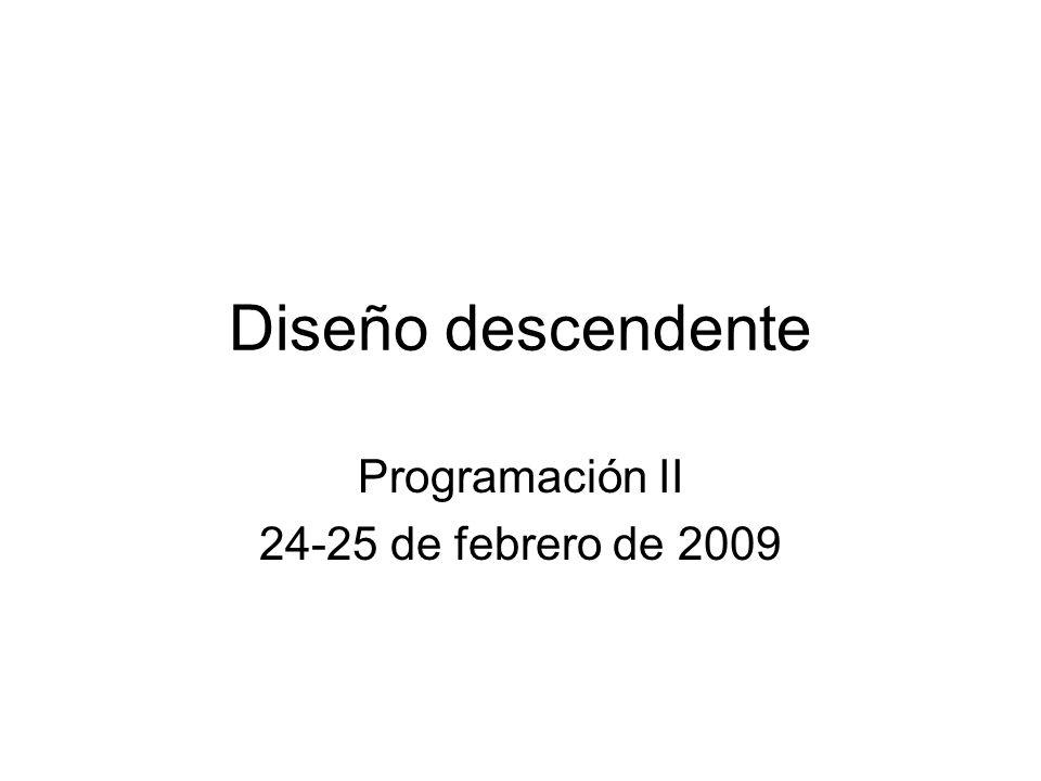 Diseño descendente Programación II 24-25 de febrero de 2009