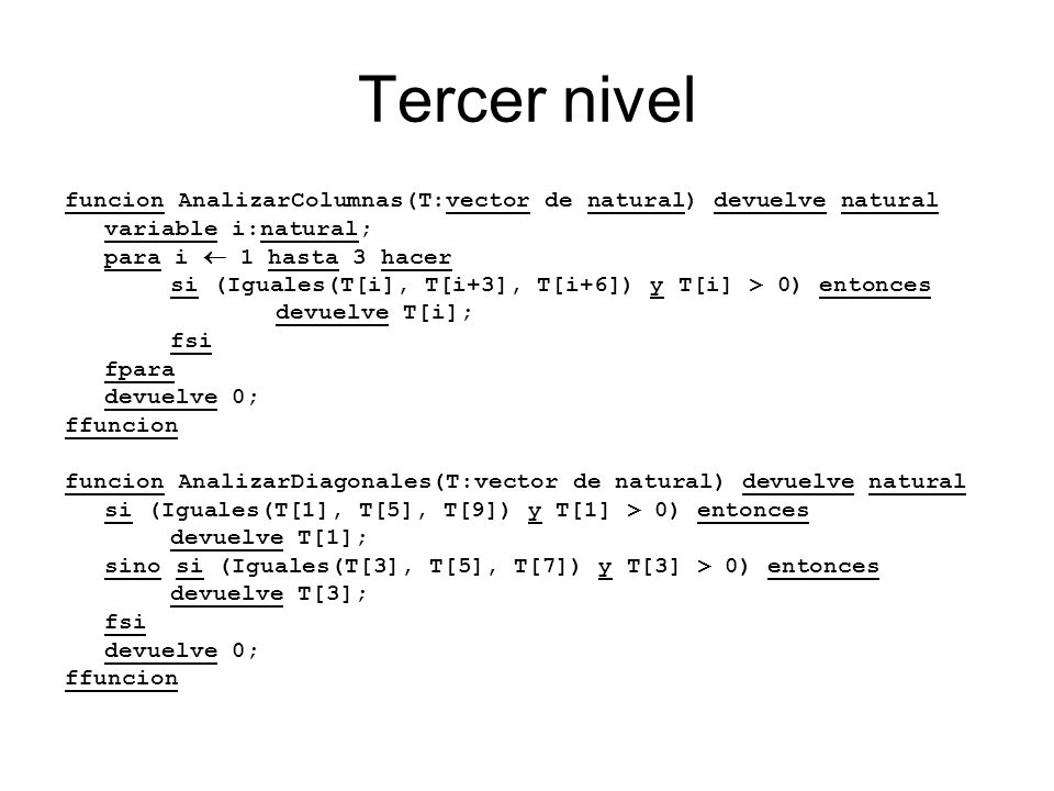Tercer nivel funcion AnalizarColumnas(T:vector de natural) devuelve natural variable i:natural; para i 1 hasta 3 hacer si (Iguales(T[i], T[i+3], T[i+6