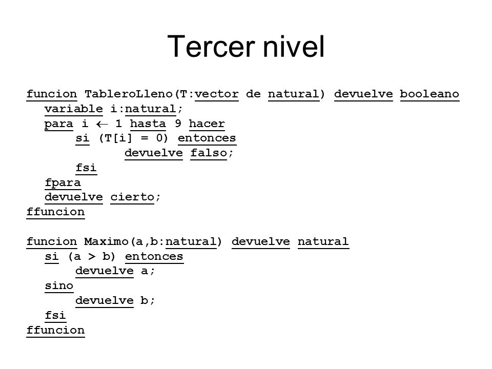 Tercer nivel funcion TableroLleno(T:vector de natural) devuelve booleano variable i:natural; para i 1 hasta 9 hacer si (T[i] = 0) entonces devuelve fa