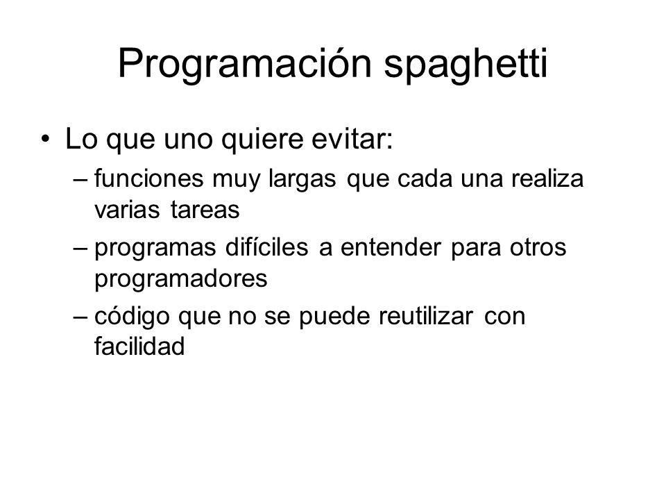 Programación spaghetti Lo que uno quiere evitar: –funciones muy largas que cada una realiza varias tareas –programas difíciles a entender para otros p