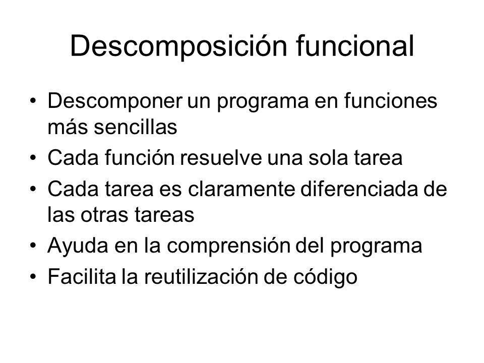 Descomposición funcional Descomponer un programa en funciones más sencillas Cada función resuelve una sola tarea Cada tarea es claramente diferenciada