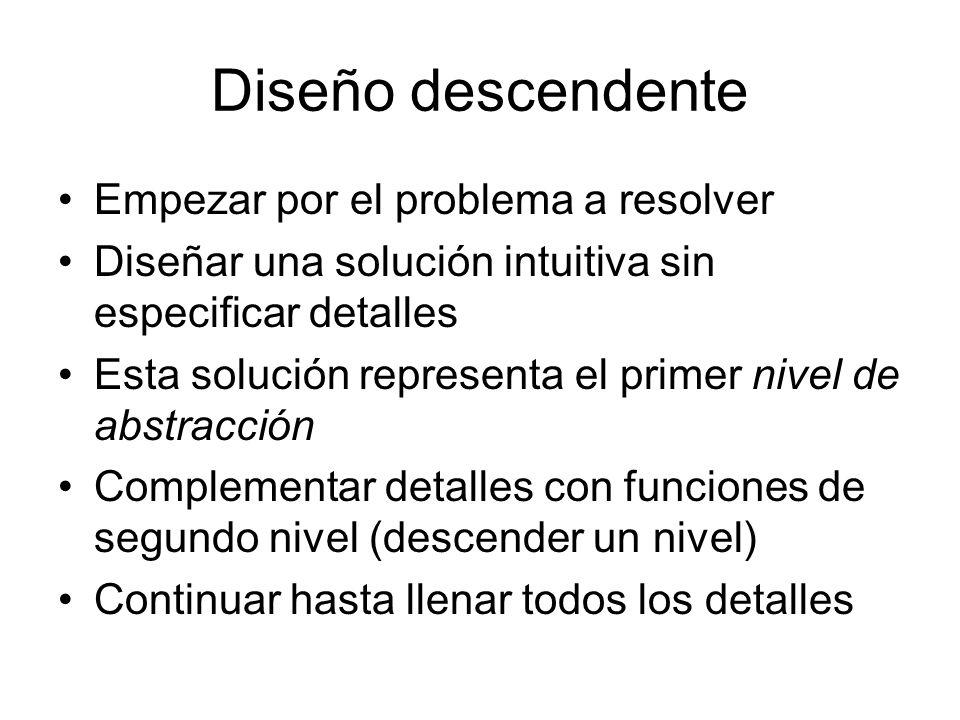 Diseño descendente Empezar por el problema a resolver Diseñar una solución intuitiva sin especificar detalles Esta solución representa el primer nivel
