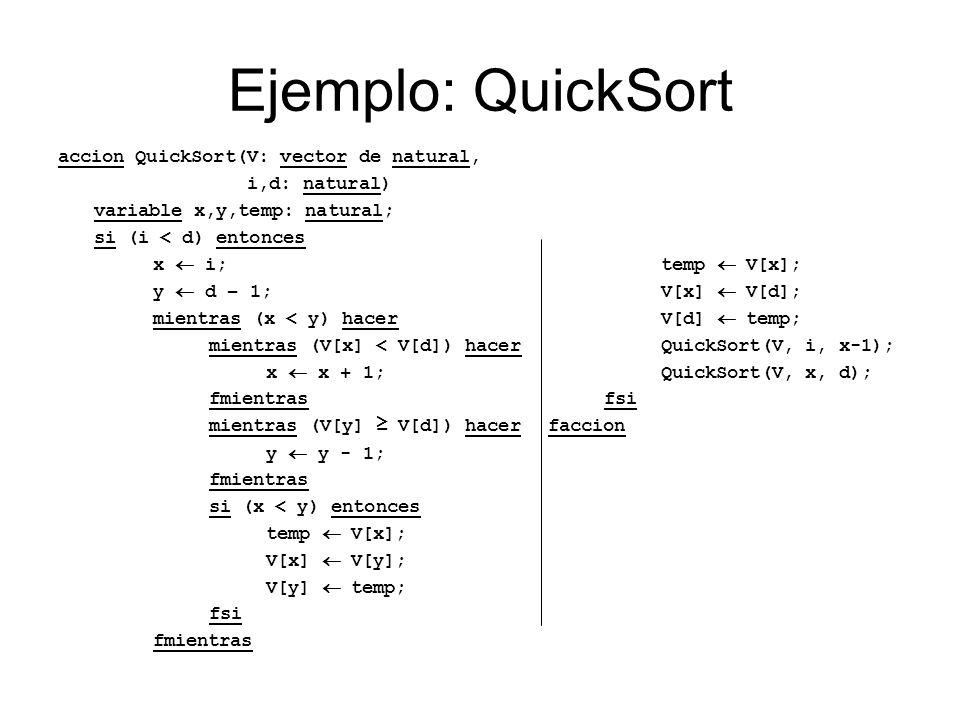 Ejemplo: QuickSort accion QuickSort(V: vector de natural, i,d: natural) variable p: natural; si (i < d) entonces p Particionar(V, i, d); QuickSort(V, i, p-1); QuickSort(V, p, d); fsi faccion