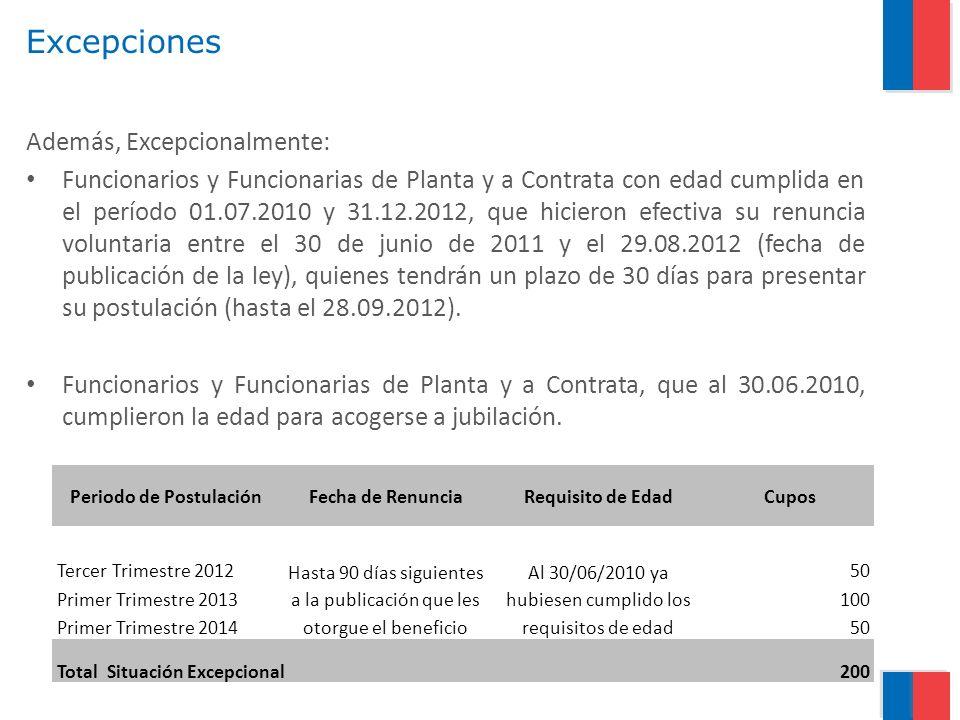 Excepciones Además, Excepcionalmente: Funcionarios y Funcionarias de Planta y a Contrata con edad cumplida en el período 01.07.2010 y 31.12.2012, que