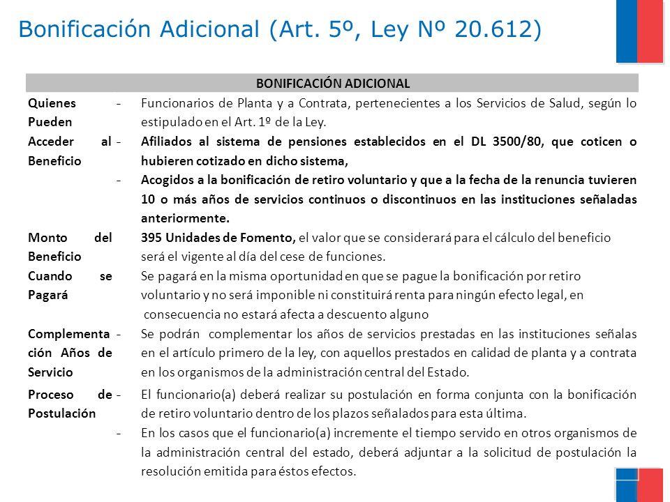 Bonificación Adicional (Art. 5º, Ley Nº 20.612) BONIFICACIÓN ADICIONAL Quienes Pueden Acceder al Beneficio - Funcionarios de Planta y a Contrata, pert