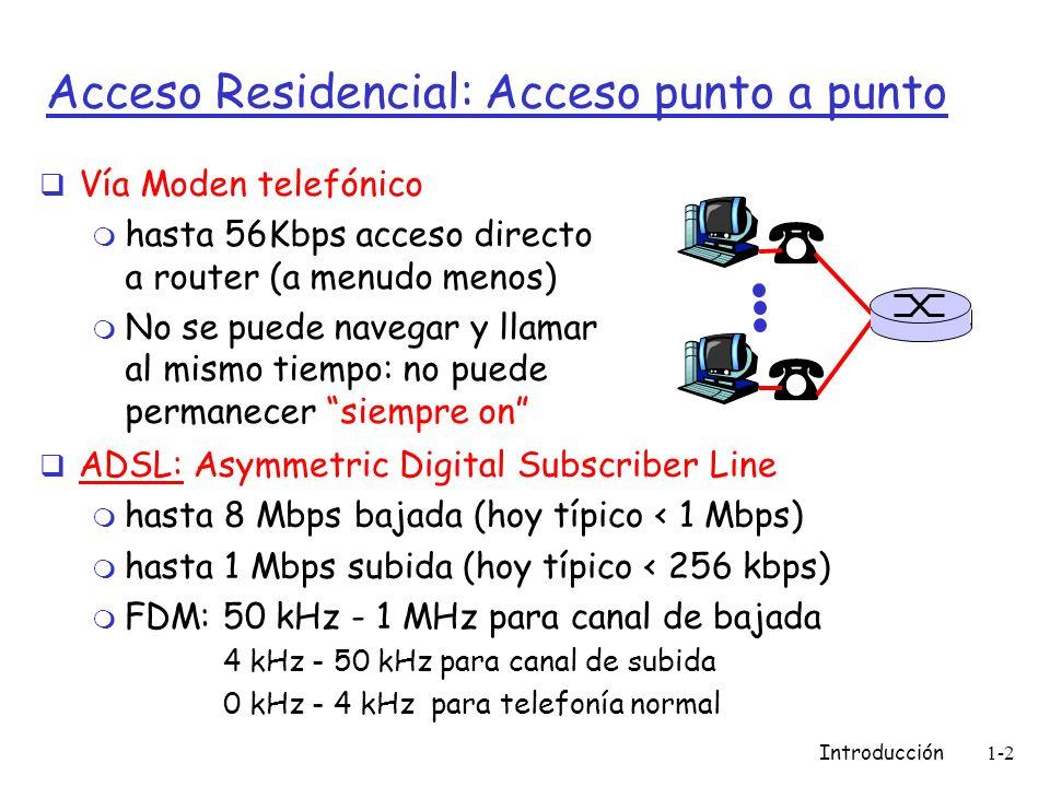 Introducción1-2 Acceso Residencial: Acceso punto a punto Vía Moden telefónico m hasta 56Kbps acceso directo a router (a menudo menos) m No se puede navegar y llamar al mismo tiempo: no puede permanecer siempre on ADSL: Asymmetric Digital Subscriber Line m hasta 8 Mbps bajada (hoy típico < 1 Mbps) m hasta 1 Mbps subida (hoy típico < 256 kbps) m FDM: 50 kHz - 1 MHz para canal de bajada 4 kHz - 50 kHz para canal de subida 0 kHz - 4 kHz para telefonía normal