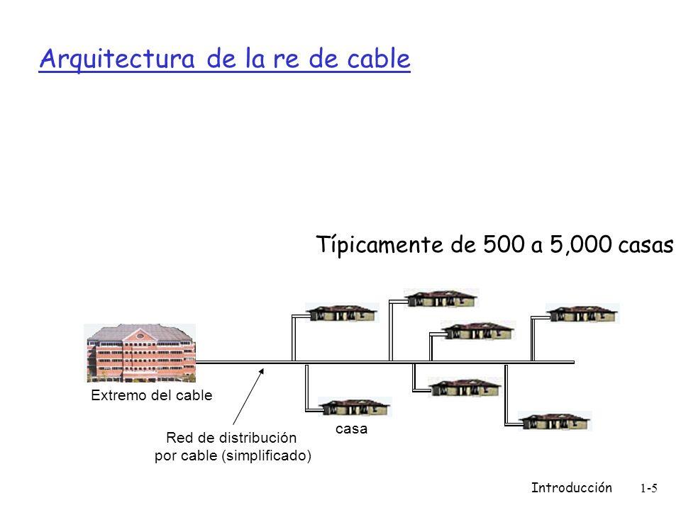 Introducción1-6 Acceso en instituciones: LAN (local area networks) compañía/univ local area network (LAN) conecta sistemas terminales a routers periféricos Ethernet: m Enlace compartido o dedicado que conecta sistemas terminales con router m 10 Mbs, 100Mbps, Gigabit Ethernet LANs: estudiaremos más adelante los detalles