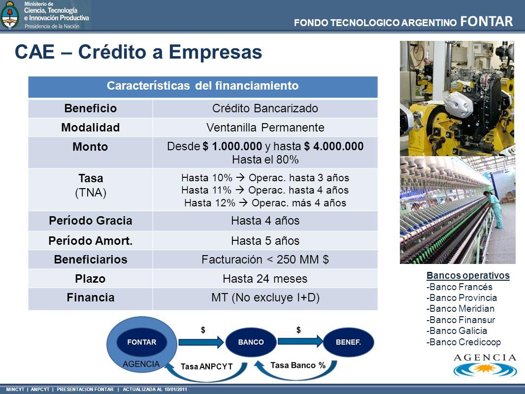 MINCYT | ANPCYT | PRESENTACION FONTAR | ACTUALIZADA AL 10/01/2011 FONDO TECNOLOGICO ARGENTINO FONTAR CAE – Crédito a Empresas Características del fina
