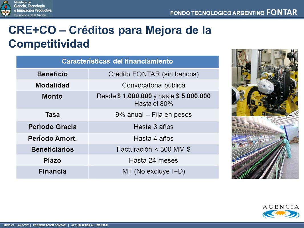 MINCYT | ANPCYT | PRESENTACION FONTAR | ACTUALIZADA AL 10/01/2011 FONDO TECNOLOGICO ARGENTINO FONTAR CRE+CO – Créditos para Mejora de la Competitivida
