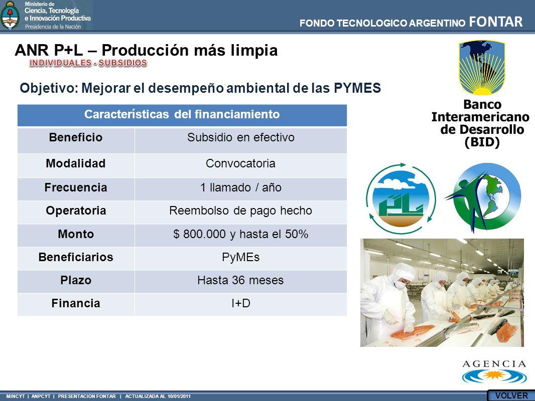 MINCYT | ANPCYT | PRESENTACION FONTAR | ACTUALIZADA AL 10/01/2011 FONDO TECNOLOGICO ARGENTINO FONTAR ANR P+L – Producción más limpia Características d