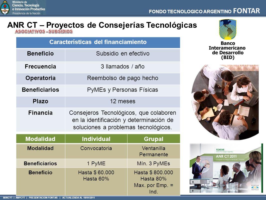 MINCYT | ANPCYT | PRESENTACION FONTAR | ACTUALIZADA AL 10/01/2011 FONDO TECNOLOGICO ARGENTINO FONTAR ANR CT – Proyectos de Consejerías Tecnológicas Ca