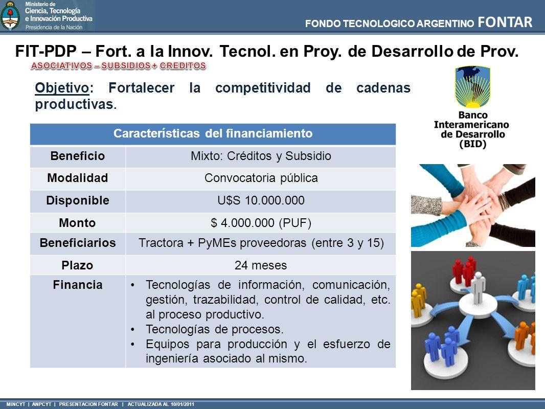 MINCYT | ANPCYT | PRESENTACION FONTAR | ACTUALIZADA AL 10/01/2011 FONDO TECNOLOGICO ARGENTINO FONTAR FIT-PDP – Fort. a la Innov. Tecnol. en Proy. de D