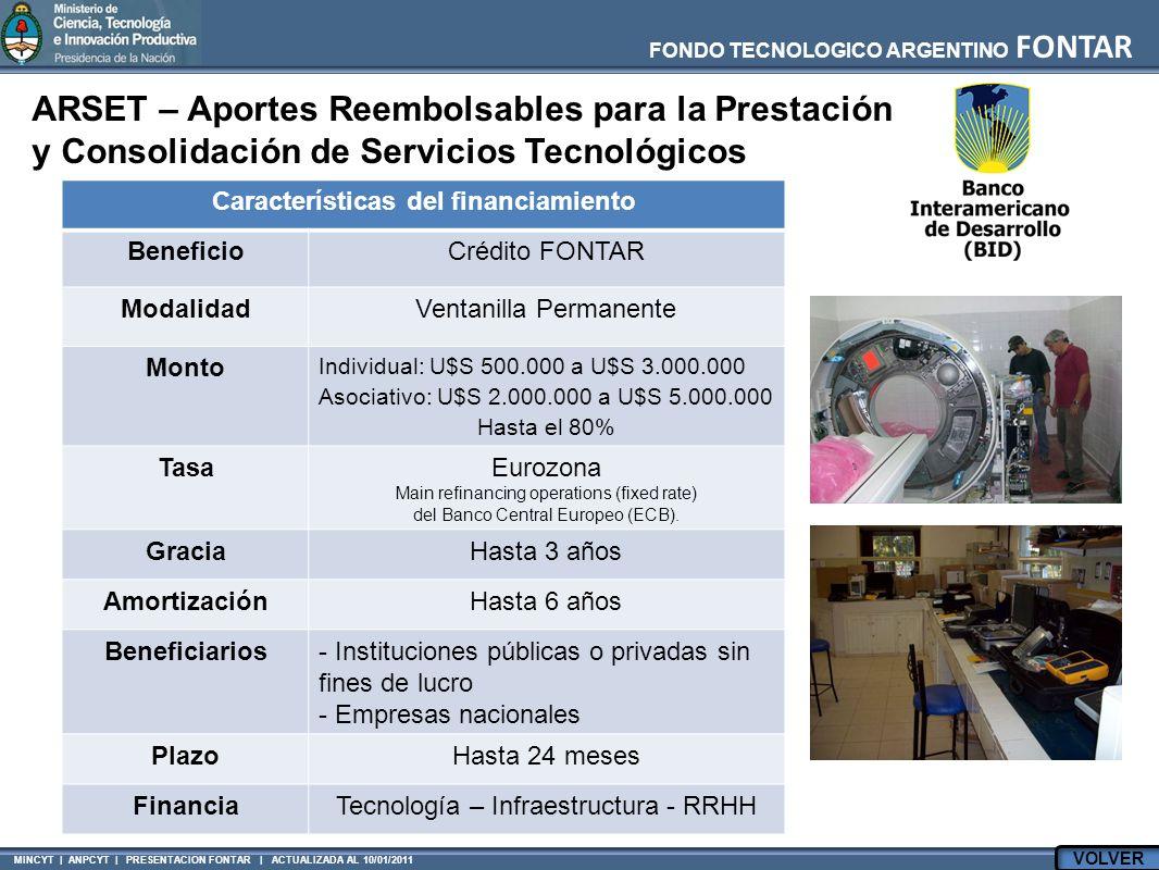 MINCYT | ANPCYT | PRESENTACION FONTAR | ACTUALIZADA AL 10/01/2011 FONDO TECNOLOGICO ARGENTINO FONTAR ARSET – Aportes Reembolsables para la Prestación
