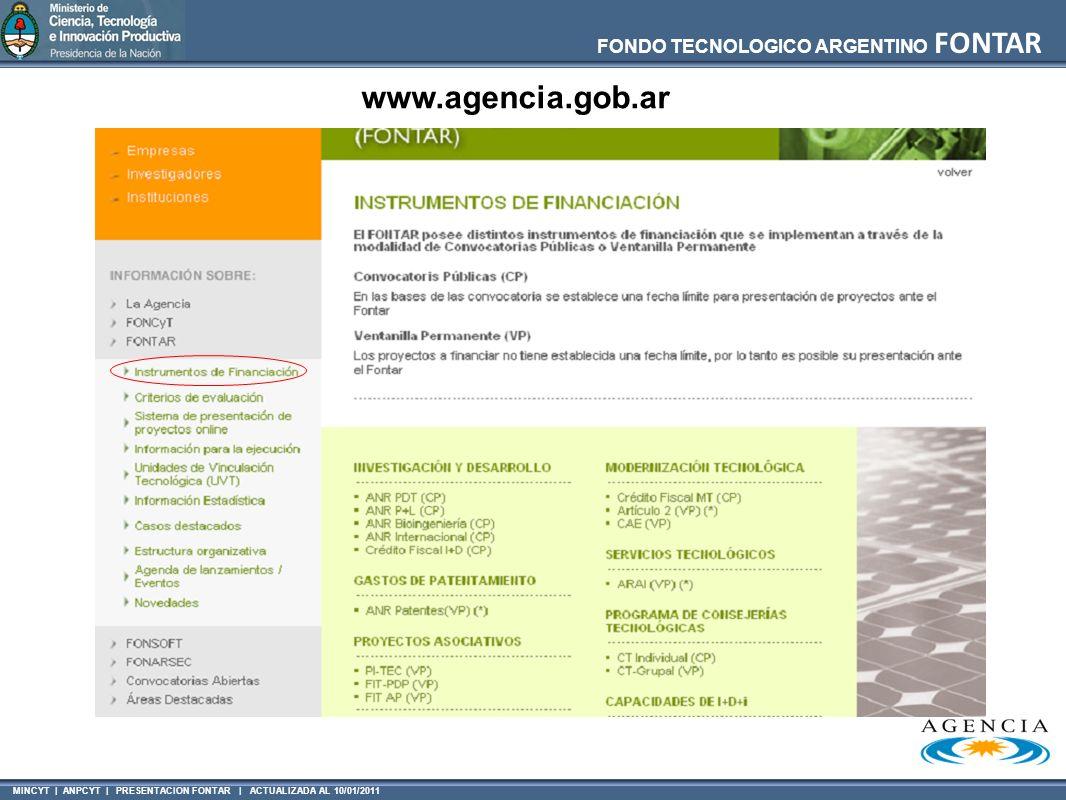MINCYT | ANPCYT | PRESENTACION FONTAR | ACTUALIZADA AL 10/01/2011 FONDO TECNOLOGICO ARGENTINO FONTAR www.agencia.gob.ar