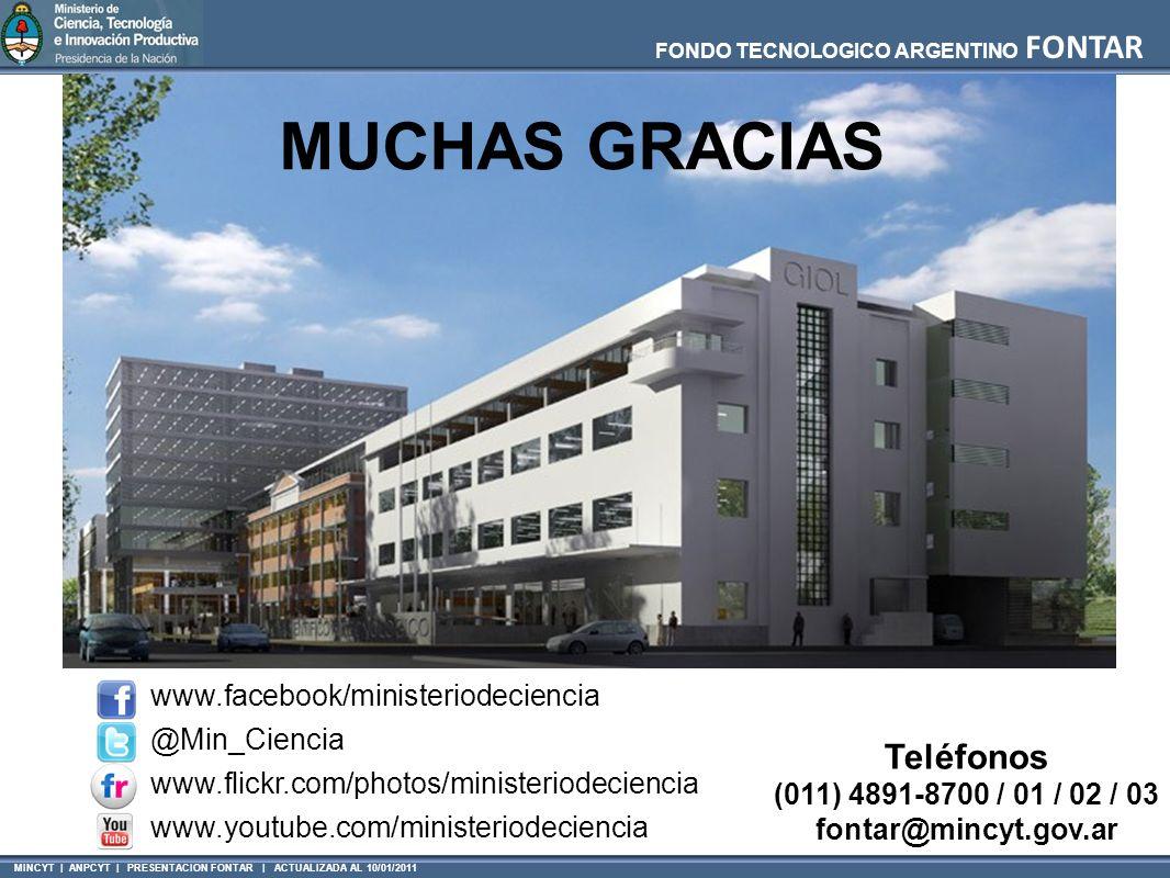 MINCYT | ANPCYT | PRESENTACION FONTAR | ACTUALIZADA AL 10/01/2011 FONDO TECNOLOGICO ARGENTINO FONTAR Teléfonos (011) 4891-8700 / 01 / 02 / 03 fontar@m