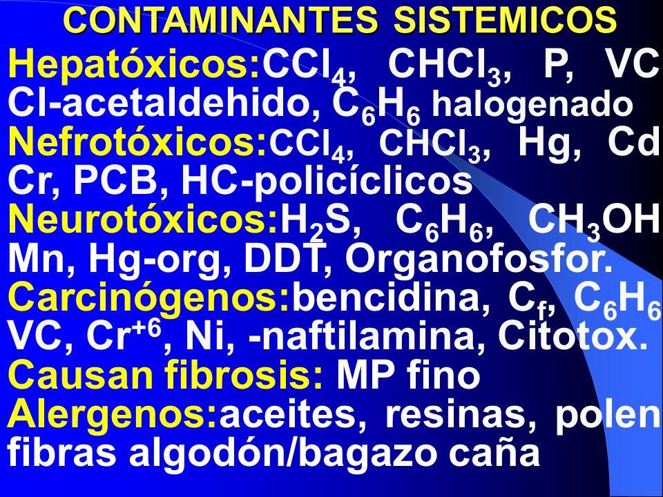 Hepatóxicos:CCl 4, CHCl 3, P, VC, Cl-acetaldehido, C 6 H 6 halogenado Nefrotóxicos: CCl 4, CHCl 3, Hg, Cd, Cr, PCB, HC-policíclicos Neurotóxicos:H 2 S, C 6 H 6, CH 3 OH, Mn, Hg-org, DDT, Organofosfor.