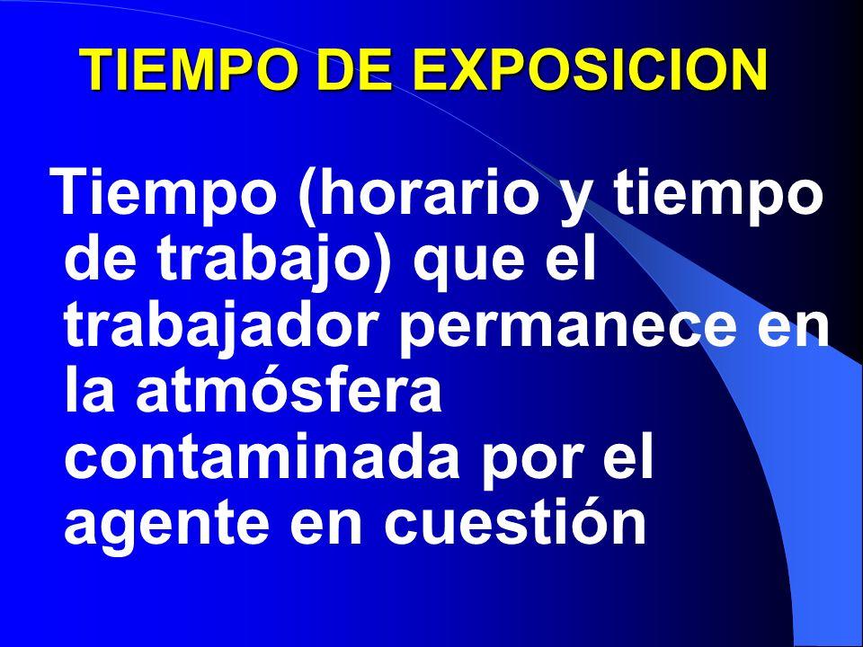 TIEMPO DE EXPOSICION Tiempo (horario y tiempo de trabajo) que el trabajador permanece en la atmósfera contaminada por el agente en cuestión