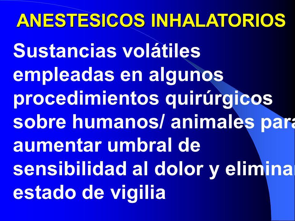 ANESTESICOS INHALATORIOS Sustancias volátiles empleadas en algunos procedimientos quirúrgicos sobre humanos/ animales para aumentar umbral de sensibilidad al dolor y eliminar estado de vigilia