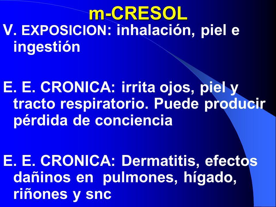 m-CRESOL V.EXPOSICION : inhalación, piel e ingestión E.