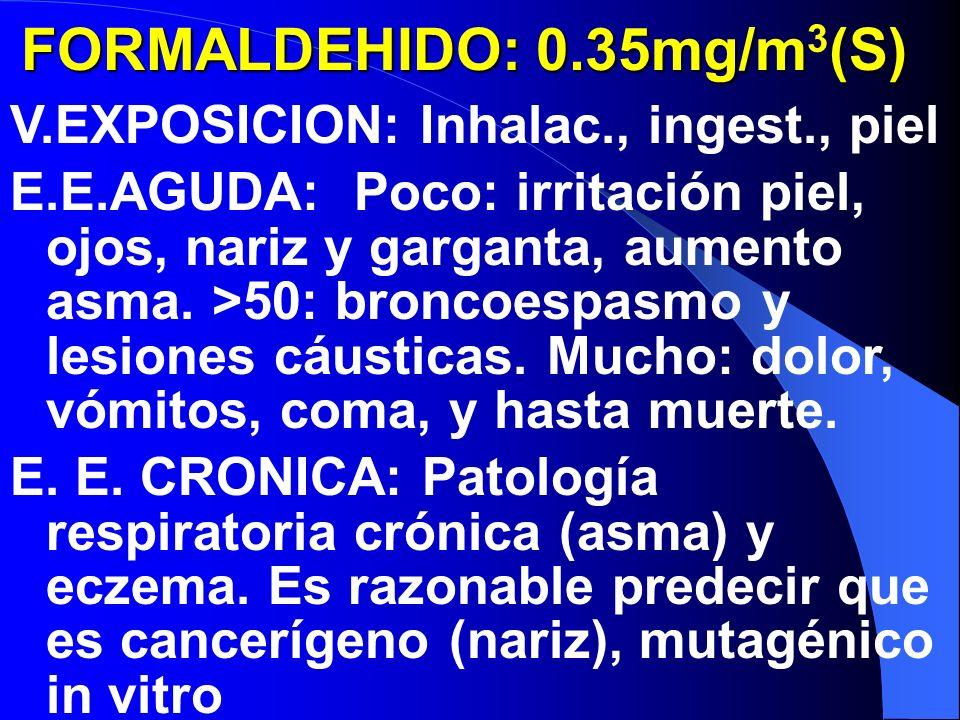 FORMALDEHIDO: 0.35mg/m(S) FORMALDEHIDO: 0.35mg/m 3 (S) V.EXPOSICION: Inhalac., ingest., piel E.E.AGUDA: Poco: irritación piel, ojos, nariz y garganta, aumento asma.