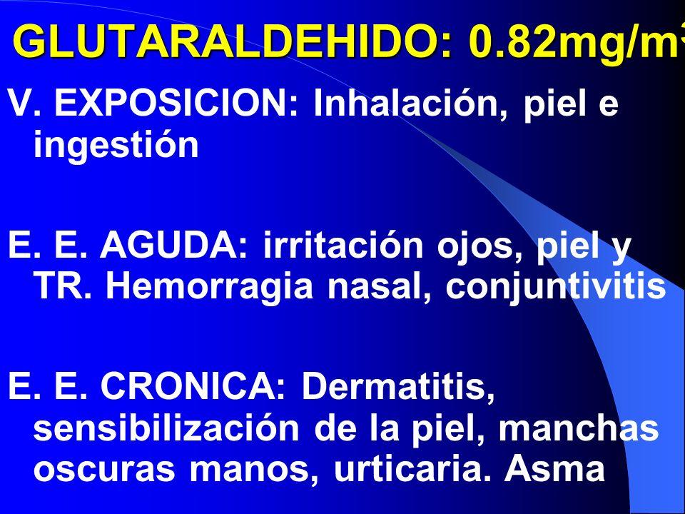 GLUTARALDEHIDO: 0.82mg/m GLUTARALDEHIDO: 0.82mg/m 3 V.