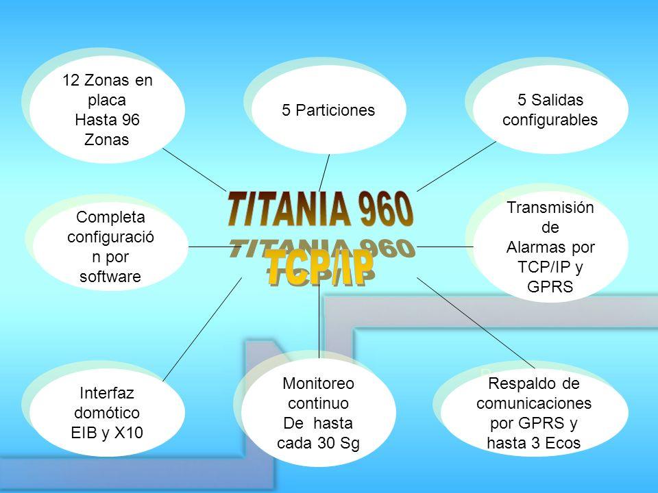 5 Particiones Respaldo de comunicaciones por GPRS y hasta 3 Ecos 5 Salidas configurables 5 Salidas configurables 12 Zonas en placa Hasta 96 Zonas 12 Z