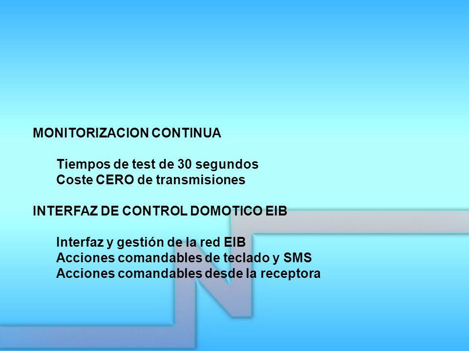 MONITORIZACION CONTINUA Tiempos de test de 30 segundos Coste CERO de transmisiones INTERFAZ DE CONTROL DOMOTICO EIB Interfaz y gestión de la red EIB A