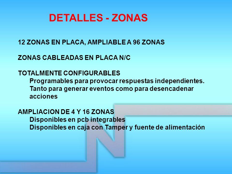 12 ZONAS EN PLACA, AMPLIABLE A 96 ZONAS ZONAS CABLEADAS EN PLACA N/C TOTALMENTE CONFIGURABLES Programables para provocar respuestas independientes. Ta