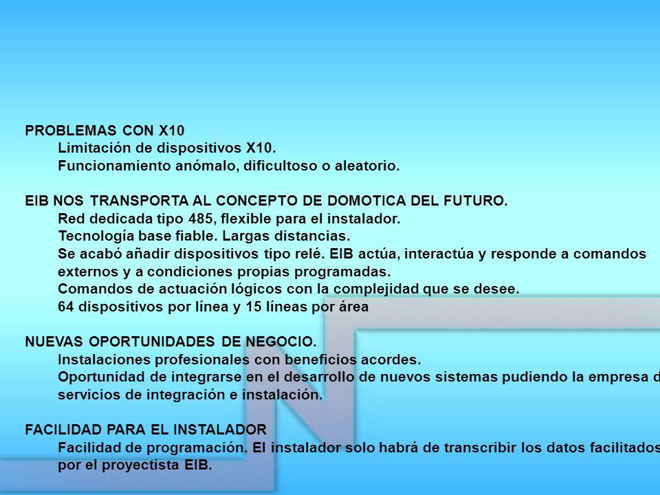 PROBLEMAS CON X10 Limitación de dispositivos X10. Funcionamiento anómalo, dificultoso o aleatorio. EIB NOS TRANSPORTA AL CONCEPTO DE DOMOTICA DEL FUTU