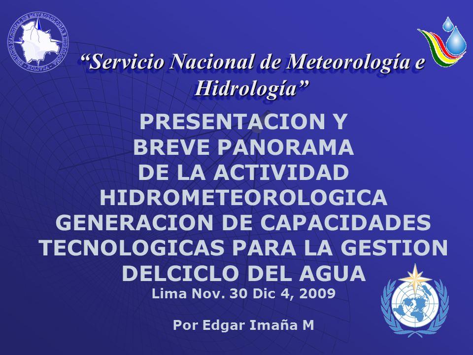 BALANCE HIDRICO SUPERFICIAL MICROREGIONAL DE BOLIVIA ACTUALIDAD OBJETIVO.- Mejorar sustancialmente el conocimiento del régimen hidrológico de las cuencas de Bolivia, análisis de variables hidrológicas a nivel mensual, discretización espacial en cuencas de menor extensión ANTECEDENTES.- El Balance Hídrico Microregional actualmente es ejecutado por: El Servicio Nacional de Meteorología e Hidrología(SENAMHI).