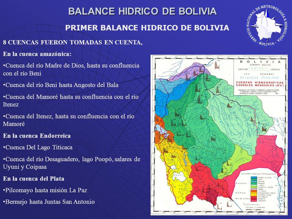BALANCE HIDRICO DE BOLIVIA 8 CUENCAS FUERON TOMADAS EN CUENTA, En la cuenca amazónica: Cuenca del río Madre de Dios, hasta su confluencia con el río B